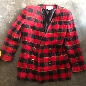 Vintage oleg cassini plaid blazer